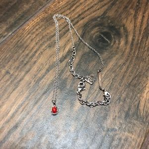 Kendr Scott silver red July birthstone necklace
